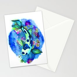 Watercolor design. Koi Fish. Stationery Cards