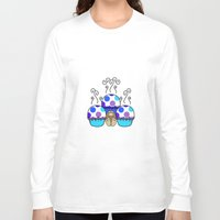 polkadot Long Sleeve T-shirts featuring Cute Monster With Blue And Purple Polkadot Cupcakes by Mydeas