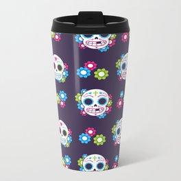 Sugar Skulls with Flowers Metal Travel Mug