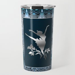 Silver ballerine luxury royal floral blue pattern Travel Mug