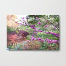 Fuchsia Floral Landscape Metal Print