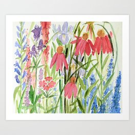 Garden Flowers Watercolor Art Print