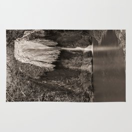 Marmore waterfalls in black and white Rug