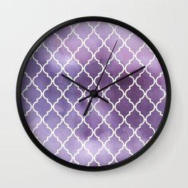 Moroccan Trellis, Watercolors - Purple White Wall Clock