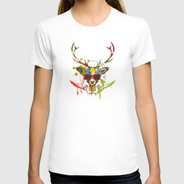 A stag's head with red sunglasses T-shirt