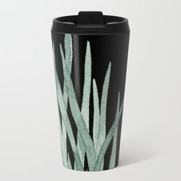 Watercolor plant on stunning black Travel Mug