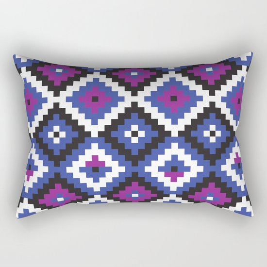 Aztec pattern - blue, purple, black, white Rectangular Pillow