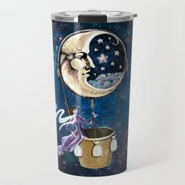 Vintage hot air ballon in a starry galaxy night sky Travel Mug