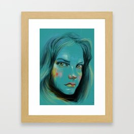 Woman in Blue Framed Art Print
