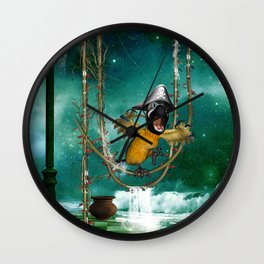 Funny pirate parrot with hat Wall Clock