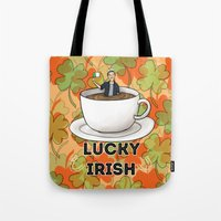 irish Tote Bags featuring Irish Luck by girlwiththetea