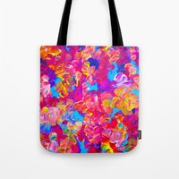 jazzberry Tote Bags featuring FLORAL FANTASY Bold Abstract Flowers Acrylic Textural Painting Neon Pink Turquoise Feminine Art by EbiEmporium