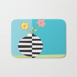 round whimsy vases with flowers Bath Mat