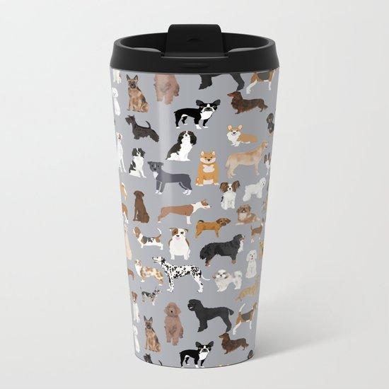 Mixed Dog lots of dogs dog lovers rescue dog art print pattern grey poodle shepherd akita corgi Metal Travel Mug