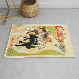 French vintage funny bicycle advertising Rug