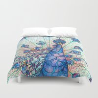 peacock Duvet Covers featuring Peacock by Kate Fitzpatrick