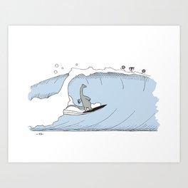 """""""Dinner Time"""" Surf Dino Art Print"""
