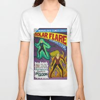 comic book V-neck T-shirts featuring Comic Book Poster by Not Too Shabby