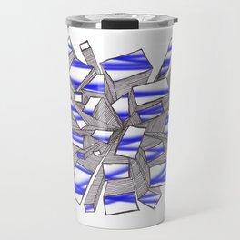 Blue Fragmentation Travel Mug