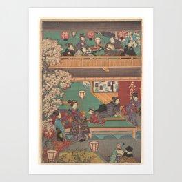 Japanes Print Early Evening in Yoshiwara Inn Art Print