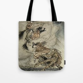 "Four Witches ""Up The Chimney"" by Arthur Rackam Tote Bag"
