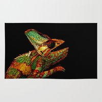 number Area & Throw Rugs featuring KARMA CHAMELEON by Catspaws