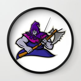 Hooded Medieval Executioner Mascot Wall Clock