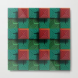 Color op art squares and striped lines with realistic effect Metal Print