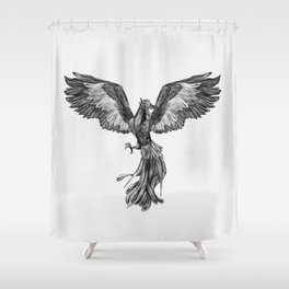 Phoenix Rising - Black and White Shower Curtain