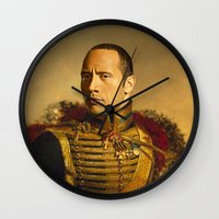allyson johnson Wall Clocks featuring Dwayne (The Rock) Johnson - replaceface by replaceface