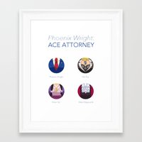 ace attorney Framed Art Prints featuring Phoenix Wright: Ace Attorney by PlalligatorDraws