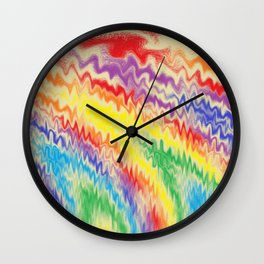 Raging Rainbow Fire Lines Wall Clock