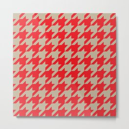 Houndstooth (Brown and Red) Metal Print