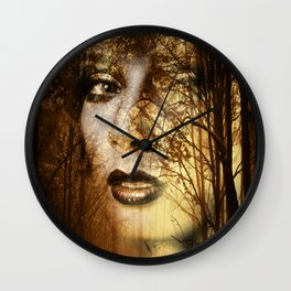 Double exposure portrait of attractive lady combined with photograph of tree. Autumn Fa Wall Clock