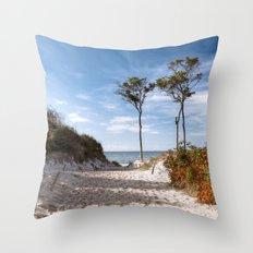 Entrance to the Sea - Ocean Beach Trees Throw Pillow