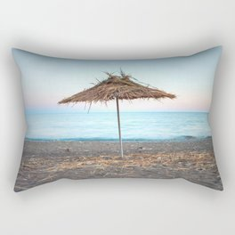 Straw umbrellas on the beach Rectangular Pillow
