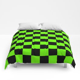 Checkered Pattern: Black & Slime Green Comforters