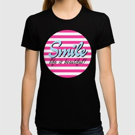 Smile, Life is Beautiful,  pink stripes, cute sticker T-shirt