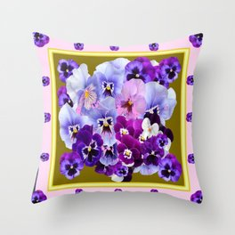 COLORFUL SPRING  PANSIES GARDEN COLLECTION Throw Pillow