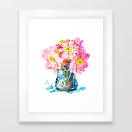 Watercolor Flower Pot Framed Art Print