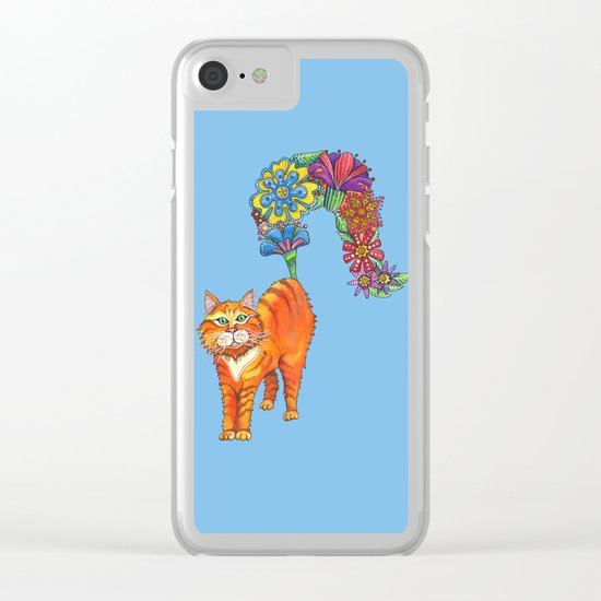 Classy Cat Chloe (Blue) Clear iPhone Case