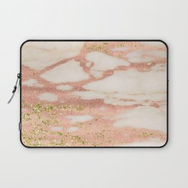 Marble - Rose Gold Shimmer Marble with Yellow Gold Glitter Laptop Sleeve