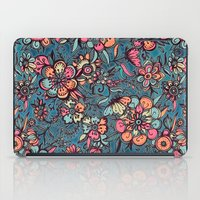 spring iPad Cases featuring Sweet Spring Floral - melon pink, butterscotch & teal by micklyn