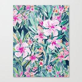 LUSH OLEANDER Tropical Watercolor Floral Canvas Print