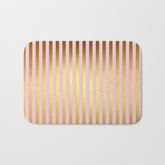 Striped- Pink and gold luxury stripes design Bath Mat