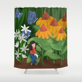 Drawing in he garden Shower Curtain