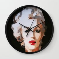 monroe Wall Clocks featuring Monroe by The Art Of Gem Starr