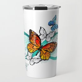 Infinity with an Orange Butterfly Travel Mug