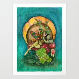 Belladonna the reading fairy Art Print