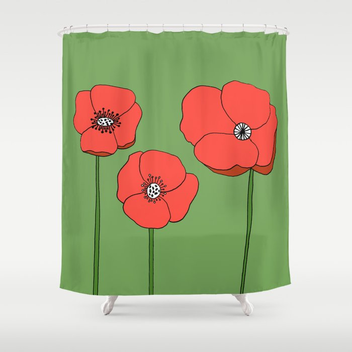 Red Poppies by Emma Freeman Designs Shower Curtain